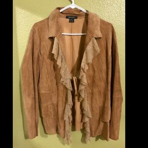 Vintage suede festival jacket with ruffles